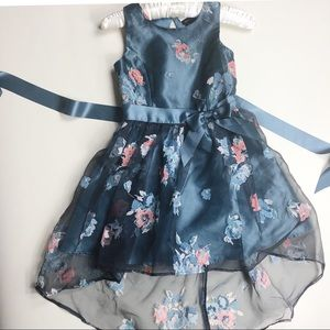 Zunie party dress in steel blue w shear overlay.